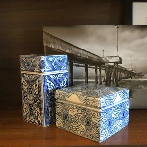 Vintage Blue and White Porcelain Decorative Boxes